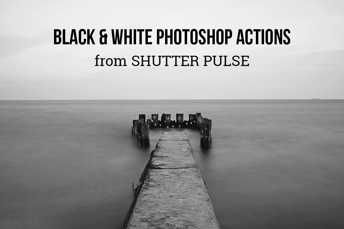 Black white photoshop actions shutter pulse